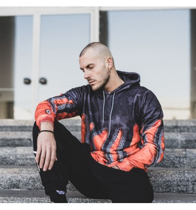 FELPA HOODIE BLACK/ORANGE - OCTOPUS