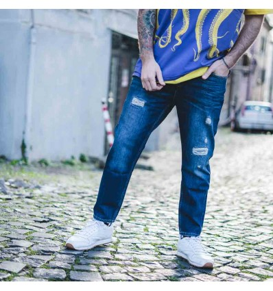 JEANS CROPPED FIT SOMBRE - P.GRAX