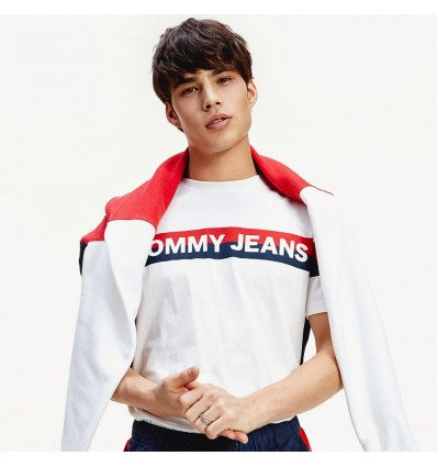 T-SHIRT DOUBLE STRIPE WHITE - TOMMY HILFIGER