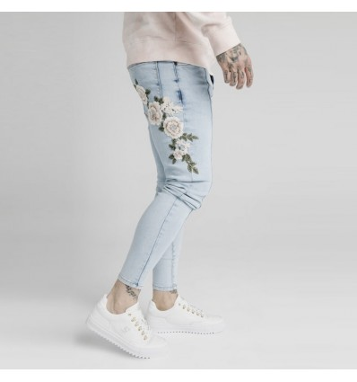 JEANS LIGHT BLUE FLOWERS - SIKSILK
