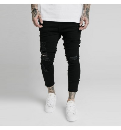 JEANS ULTRA DROP BLACK - SIKSILK