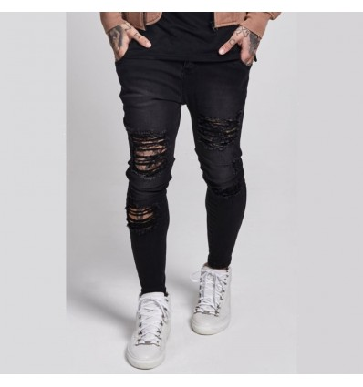 JEANS BLACK DESTROYED - ILLUSIVE LONDON