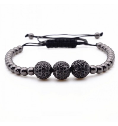 BRACCIALE TRIPLE BLACK - GOLDEN STONE