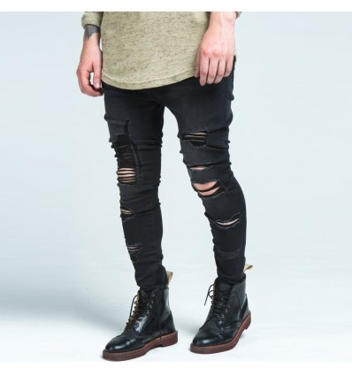 JEANS BLACK DESTROYED - SIK SILK