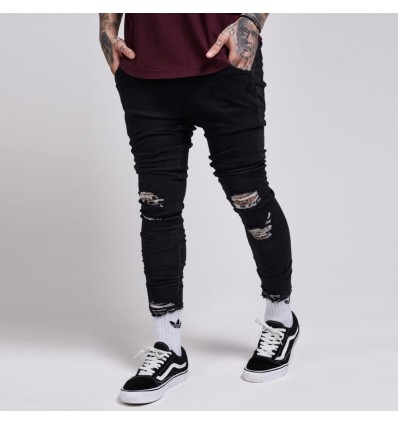 JEANS DESTROYED BLACK - ILLUSIVE LONDON